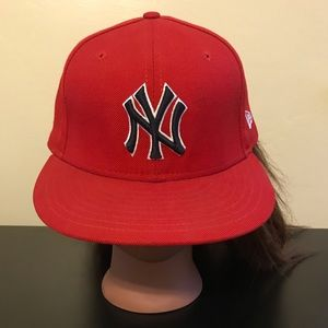 """Other - EUC Red """"NY"""" Fitted Baseball Cap 🧢"""